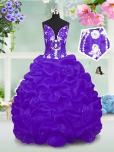 Floor Length Lace Up Flower Girl Dresses Purple for Party and Wedding Party with Beading and Pick Ups