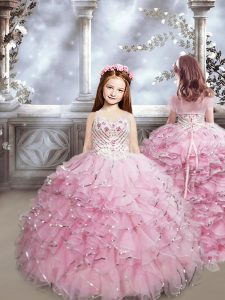 Enchanting Sweetheart Sleeveless Brush Train Lace Up Kids Formal Wear Baby Pink Organza