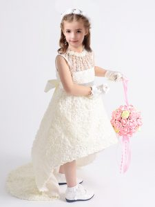 Latest Scoop Sleeveless Zipper High Low Beading and Bowknot Pageant Dress Wholesale