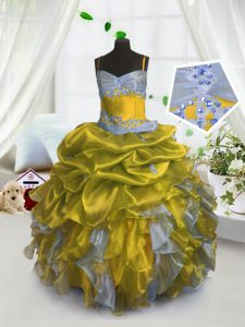 Low Price Spaghetti Straps Sleeveless Pageant Dress for Teens Floor Length Beading and Ruffles and Pick Ups Gold Organza