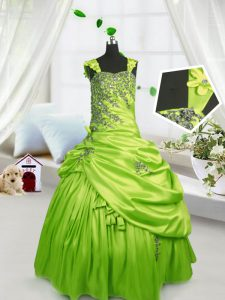 Lovely Yellow Green Ball Gowns Straps Sleeveless Satin Floor Length Lace Up Beading and Pick Ups Child Pageant Dress