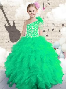 Affordable One Shoulder Sleeveless Organza Lace Up Evening Gowns for Party and Wedding Party