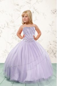 Sleeveless Tulle Floor Length Lace Up Flower Girl Dress in Lavender with Beading
