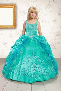 Customized Satin Sleeveless Floor Length Little Girl Pageant Gowns and Beading and Appliques and Pick Ups