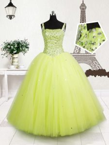 New Style Floor Length Lace Up Pageant Dresses Yellow Green for Party and Wedding Party with Beading and Sequins