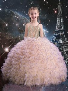 Excellent Pink Sleeveless Floor Length Beading and Ruffles Lace Up Pageant Dress