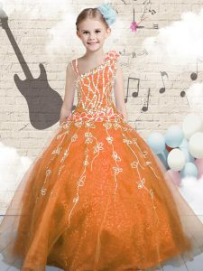 Floor Length Orange Winning Pageant Gowns Asymmetric Sleeveless Lace Up