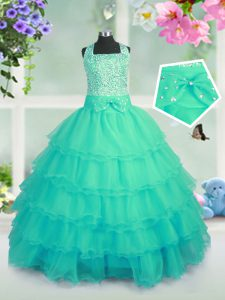Turquoise Ball Gowns Organza Square Sleeveless Beading and Ruffled Layers Floor Length Lace Up Pageant Dress Wholesale