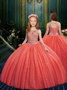 Watermelon Red Tulle Lace Up Pageant Dresses Sleeveless Floor Length Appliques