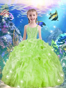 Exquisite Yellow Green Ball Gowns Beading and Ruffles Custom Made Pageant Dress Lace Up Organza Sleeveless Floor Length
