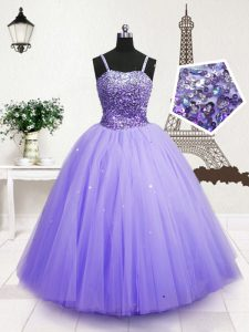 Simple Blue Sleeveless Floor Length Beading and Sequins Zipper Evening Gowns