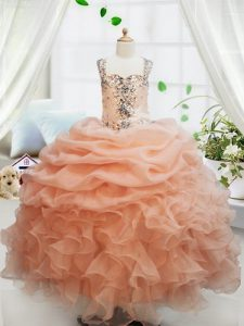 Beauteous Orange Sleeveless Beading and Ruffles and Pick Ups Floor Length Pageant Dress