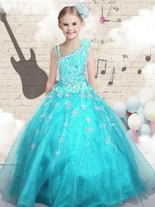 High Quality Aqua Blue Ball Gowns Appliques High School Pageant Dress Lace Up Tulle Sleeveless Floor Length