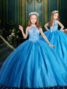 Halter Top Sleeveless Tulle Floor Length Lace Up Pageant Dress for Girls in Baby Blue with Beading and Sequins
