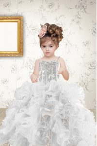 Sequins Spaghetti Straps Sleeveless Lace Up Kids Formal Wear Grey Organza