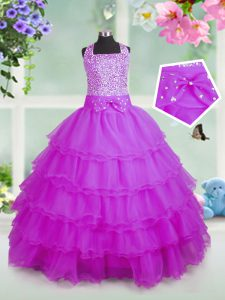 Rose Pink Organza Zipper Little Girls Pageant Dress Wholesale Sleeveless Floor Length Beading and Ruffled Layers