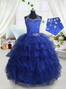 Halter Top Sleeveless Organza Little Girls Pageant Gowns Beading and Ruffled Layers Lace Up