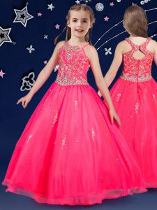 New Arrival Organza Scoop Sleeveless Zipper Beading Pageant Dress Womens in Hot Pink