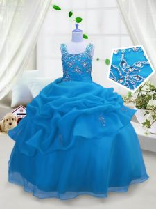 Customized Pick Ups Floor Length Ball Gowns Sleeveless Aqua Blue Girls Pageant Dresses Lace Up