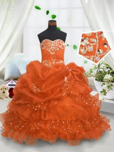 Glorious Organza Sweetheart Sleeveless Lace Up Beading and Ruffled Layers and Pick Ups Evening Gowns in Orange