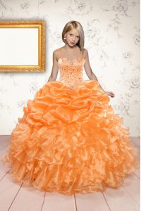 Customized Orange Glitz Pageant Dress Party and Wedding Party with Beading and Ruffles and Pick Ups Spaghetti Straps Sleeveless Lace Up