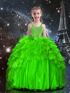 Exquisite Floor Length Flower Girl Dresses Organza Sleeveless Beading and Ruffles
