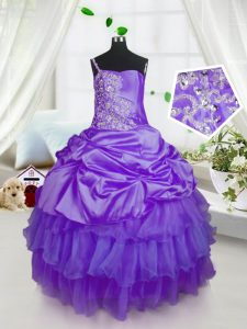 Purple Sleeveless Beading and Ruffled Layers and Pick Ups Floor Length Girls Pageant Dresses