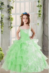 Organza Sleeveless Floor Length Child Pageant Dress and Lace and Ruffled Layers