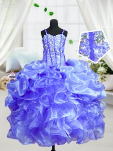 Floor Length Ball Gowns Sleeveless Baby Blue Little Girls Pageant Gowns Lace Up