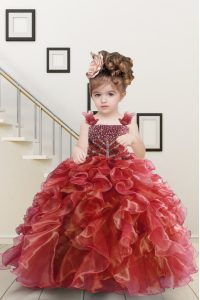 Watermelon Red Ball Gowns Organza Straps Sleeveless Beading and Ruffles Floor Length Lace Up Pageant Dress for Teens