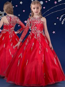 Red Sleeveless Beading and Ruffles Floor Length Girls Pageant Dresses