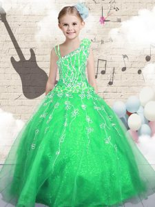 Green Ball Gowns Organza Asymmetric Sleeveless Beading and Appliques and Hand Made Flower Floor Length Lace Up Pageant Dresses