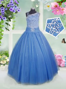 Floor Length Baby Blue Pageant Dress for Womens Tulle Sleeveless Beading