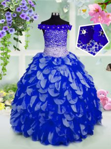 Royal Blue Off The Shoulder Lace Up Beading and Hand Made Flower Glitz Pageant Dress Sleeveless