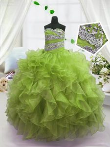 Amazing Ball Gowns Pageant Dress Toddler Olive Green Sweetheart Organza Sleeveless Floor Length Lace Up