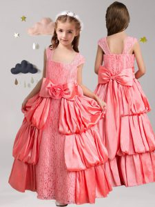 Watermelon Red Taffeta and Lace Zipper Straps Cap Sleeves Floor Length Evening Gowns Pick Ups and Bowknot and Hand Made Flower