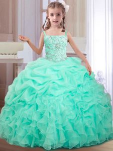 Enchanting Apple Green Ball Gowns Organza Straps Sleeveless Beading and Ruffles and Pick Ups Floor Length Lace Up Little Girl Pageant Dress
