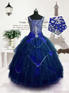 Customized Royal Blue Tulle Lace Up Pageant Dress Womens Sleeveless Floor Length Beading and Belt