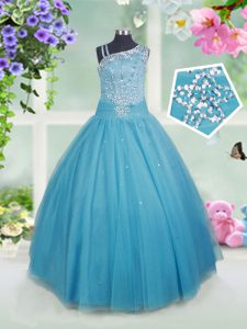 Custom Design Teal Asymmetric Neckline Beading Pageant Gowns For Girls Sleeveless Side Zipper