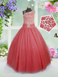 Watermelon Red Sleeveless Floor Length Beading Side Zipper Winning Pageant Gowns