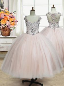 Pink Ball Gowns Straps Cap Sleeves Tulle Floor Length Zipper Beading Flower Girl Dresses for Less
