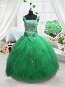 Turquoise Sleeveless Floor Length Beading and Ruffles Lace Up Kids Formal Wear
