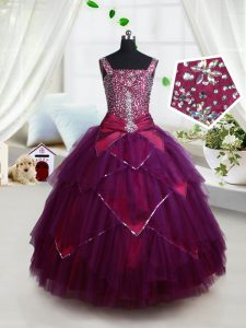 Square Sleeveless Beading and Ruffles and Belt Lace Up Pageant Dress Womens