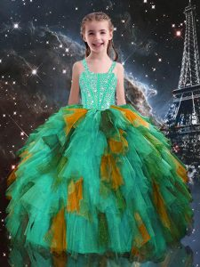 Elegant Sleeveless Floor Length Beading and Ruffles Lace Up Pageant Dress with Turquoise