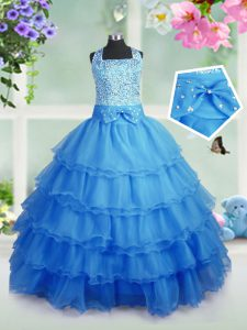 Sleeveless Zipper Floor Length Beading and Ruffled Layers Pageant Dress for Teens