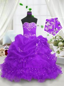 Sleeveless Floor Length Beading and Ruffled Layers and Pick Ups Lace Up Pageant Dress Womens with Purple