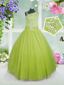 Amazing Beading Girls Pageant Dresses Apple Green Side Zipper Sleeveless Floor Length