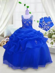 Top Selling Organza Straps Sleeveless Zipper Beading and Pick Ups Flower Girl Dresses in Royal Blue