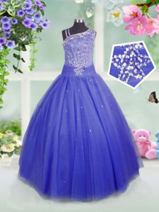 Blue Sleeveless Beading Floor Length Pageant Dress Toddler