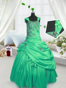 Green Straps Neckline Beading and Pick Ups Pageant Dresses Sleeveless Lace Up
